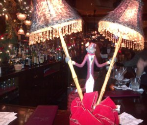 A decorative monkey lamp at French 75 Bar in New Orleans