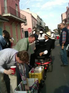 Traveling liquor and beads to accompany wedding parade 2nd Line Brass Band in New Orleans