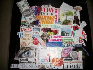 Amy Marks-McGee's vision board using a variety of cut out colored magazine images in collage format