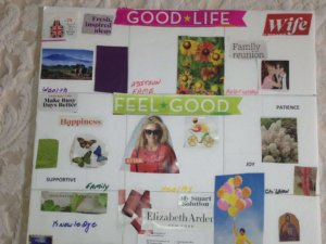 Janice Hart's vision board using a variety of cut out colored magazine images in collage format