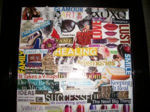 Karen Dubin's vision board using a variety of cut out colored magazine images in collage format