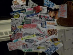 Missy Mazelon's vision board using a variety of cut out colored magazine images in collage format