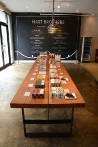 Mast Brothers Chocolate long display table Williamsburg, Brooklyn