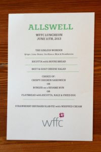 WFFC Allswell private luncheon menu, Williamsburg, Brooklyn
