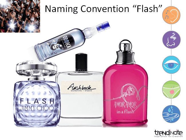 "A ""Naming Convention Flash"" slide with Jimmy Choo Flash, Olfactive Studio Flashback and Amor Amor In A Flash perfume bottles and the Oddka Electricity Vodka"