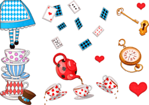 Illustrations of Alice in Wonderland themes including tea cups, tea pot, cards, lock and key and pocket watch for a lifestyle trends article about adult fairytales and fantastical products
