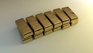 Two rows of six gold bars stacked for an ingredient article about how gold is used to communicate luxury