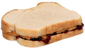 A close up of a peanut butter and jelly sandwich for an ingredient article about new PB&J products