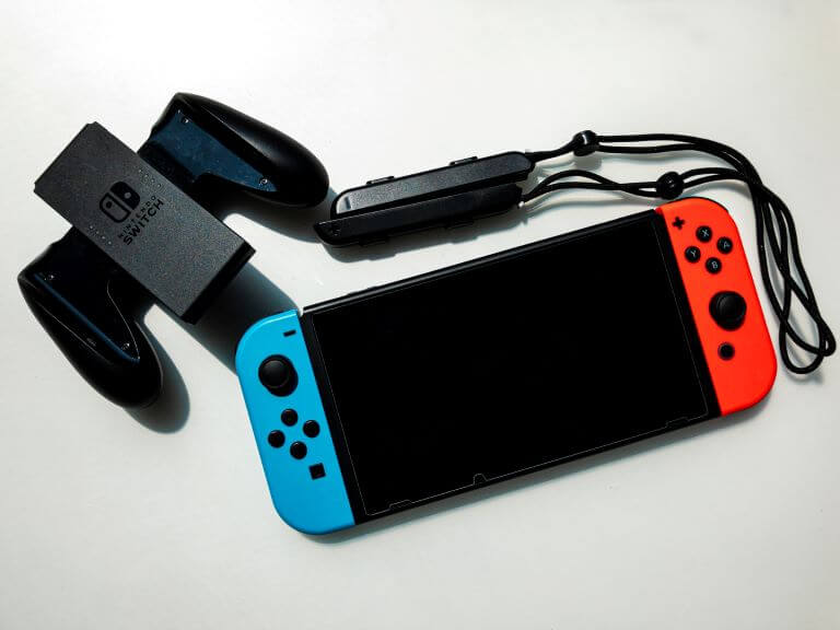 Nintendo Switch Console with Neon Blue & Red Controller for article about new Digital Advertising Platforms