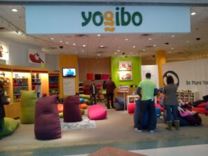 Yogibo store at Westchester with multi colored bean bag furniture