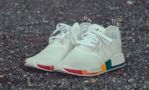 Adidas Pride sneaker white with a rainbow trim for sneaker article about fashion collaborations