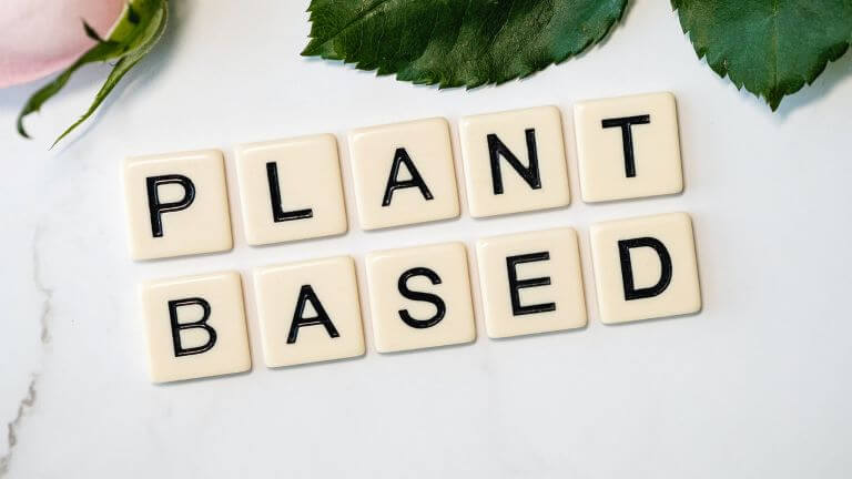 Plant Based spelled out with tiles for an article about new plant based milk ingredients and non dairy milk alternatives
