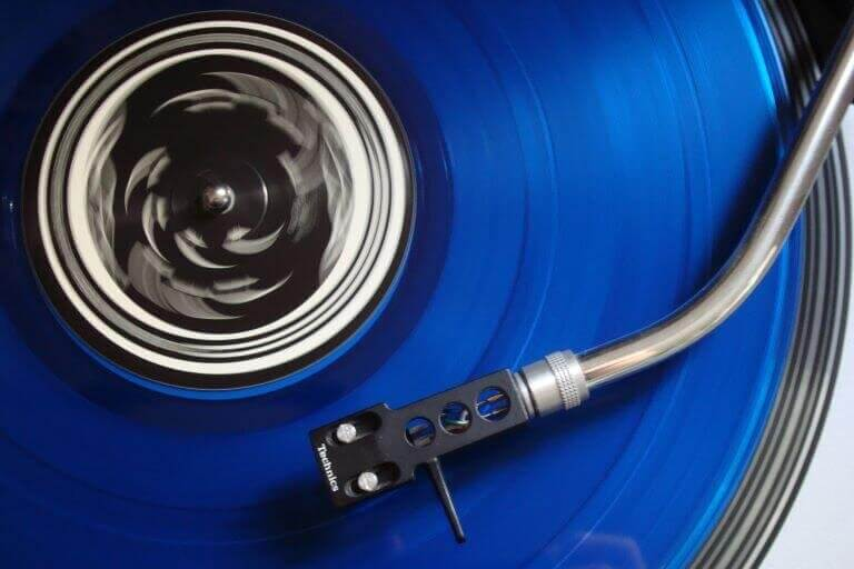 Bright Blue Record Player for trend article about Food, fashion, music, and video games